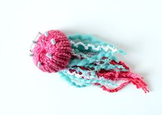 Horn Jellyfish Brooch #17 (pink/blue) - plush pin toy amigurumi ocean sea…