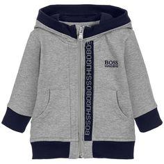 BOSS Grey Hooded Zip-Up Top