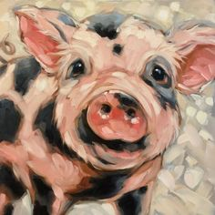 Reserved for Katherine. Pig painting, Original impressionistic oil painting of a sweet little piggy. Artwork is photographed and the image is adjusted to match the original painting as close as possible. If you have any questions please feel free to contact me.  Copyrights of all artwork are non-transferable with sale. Andrea Lavery Art© all rights reserved