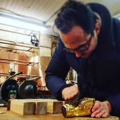 "The maestro @edwardmckeever was in today doing some gilding samples for a local design firm and he was gracious enough to gild some cast iron cabinet feet for us.... So now in stock ""hand gilt cast iron cabinet feet""! The guy is a legend! stay tuned for more rad gilding!"