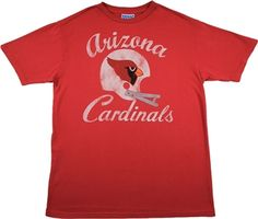 This licensed NFL t-shirt features a vintage print of the Arizona Cardinals team helmet with the year the team was established Arizona Cardinals Shirts, Cardinals Team, Junk Food Tees, Team Shirts, Women's Shirts, Sport T Shirt, Cool T Shirts, T Shirts For Women, Mens Tops