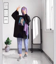 Modest Fashion Hijab, Modern Hijab Fashion, Street Hijab Fashion, Hijab Casual, Hijab Fashion Inspiration, Muslim Fashion, Mode Inspiration, Look Fashion, Casual Outfits