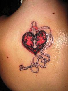 heart lock and key tattoo