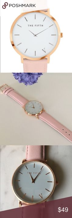 "Brand New Quartz Watch Pink Band Rose Gold GIFT Brand New Without Box.  The Fifth.  Quartz, Large face at  1.5"" diameter. Glass cover, Water Resistance (not water proof). Depth: Leather band. Valentine  Gift ! The Fifth Accessories Watches"