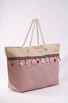 Ροζ - μπεζ υφασμάτινη τσάντα που χωράει τα πάντα. Κωδ. 918.017, Τηλ. 2510 241726 Straw Bag, Bags, Fashion, Handbags, Moda, Fashion Styles, Fashion Illustrations, Bag, Totes