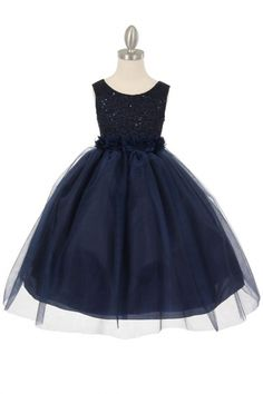 Navy Blue Sleeveless Lace Flower Girls Dress with Floral Sash