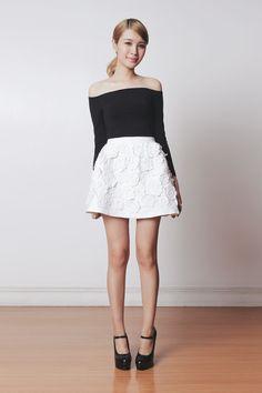 Tricia Gosingtian - Chic Wish Skirt, Romwe Top, Emoda Wedges - 040414 White Fashion, I Love Fashion, Fashion Design, Rock And Roll, Tricia Gosingtian, Harajuku, Grunge, Flower Skirt, Trends