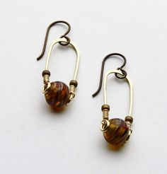 Brass Trapeze Earrings with Golden Glass Beads