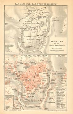 1894 Original Antique Map of the Ancient and by CabinetOfTreasures