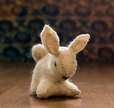 Waldorf bunny Felt bunny  This wonderful small white bunny is made of 100% eco felt and stuffed with high quality wool. She measures about 5x3,5 cm. This