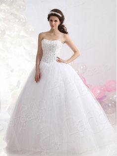 ウェディングドレス プリンセス 上半身はビーズ、スパンコールいっぱい ハートネック チュール アイボリー B12335  税込: ¥39,096