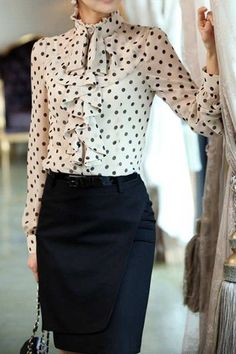 Elegant Style Stand Collar Polka Dot Flouncing Embellished Long Sleeve Chiffon Shirt For Women Business Dress, Business Mode, Business Attire, Mode Outfits, Office Outfits, Casual Office, White Office, Skirt Outfits, Office Fashion