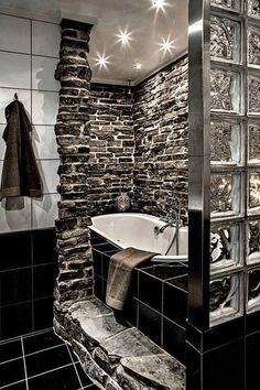 Trendy design, and the perfect bathtub to unwind your day. The sleek fixtures also add personality to this remodel. designs designs home design interior design 2012 Dream Bathrooms, Beautiful Bathrooms, Fancy Bathrooms, Unusual Bathrooms, Modern Bathrooms, Rustic Bathrooms, House Goals, Bathroom Interior, Design Bathroom