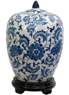 Blue and White Floral Porcelain Vase Jar