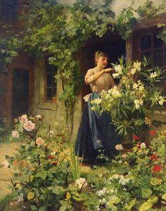 Paintings Reproductions Gilbert, Victor Gabriel Gardening