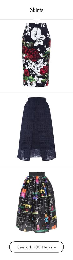 """""""Skirts"""" by ms-perry on Polyvore featuring skirts, black, flower print skirt, floral skirt, dolce gabbana skirts, rose skirt, black knee length skirt, navy, full skirt и navy eyelet skirt"""