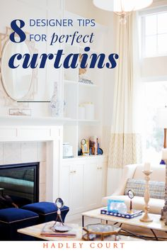 Learn 8 designer do's and don'ts for choosing curtains, textures, opacity and lengths: standard curtain lengths: apron, sill, floor length and puddle curtains. Tap to see how to choose the right curtains, like this gorgeous living room with cream lace striped floor length curtains  for your space! #curtains #windowdrapes #interiordesign