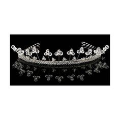 The Real Princess Company Pearl and Crystal Iris Tiara (£160) ❤ liked on Polyvore featuring jewelry, clear jewelry, pearl jewellery, swarovski crystal jewelry, swarovski crystal jewellery and clear crystal jewelry