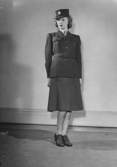 Model wearing WAC auxiliary winter uniform, 1942.  Photographer: Myron Davis.  | LIFE - Hosted by Google