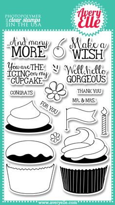 "Avery Elle """"Cupcakes"""" Clear Stamp Set"