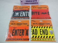 Halloween Fright Tape 30 FT Dead End Enter If You Dare  Come in For A Bite Etc #GREENBRIER