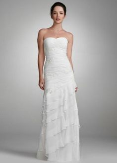 David's Bridal Wedding Dress: Chiffon Gown with Beaded Lace Applique Style 230M14920