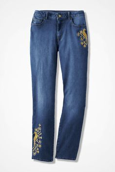 The Creek® Golden Bird Ankle Jeans - Coldwater Creek