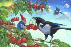 Gnome magpie and fairy harvesting cherries
