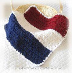 Mini Baby Blanket Newborn 4th Fourth of July Photography Photo Prop Basket Bucket Layer Red White Blue Handmade Crochet