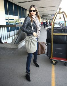 Miranda Kerr Cardigan - Miranda Kerr added texture to her adorable travel look with a mohair cardigan. Travel Chic, Travel Wear, Travel Style, Travel Outfits, Travel Plane, Travel Wardrobe, Air Travel, Travel Light, Miranda Kerr Style