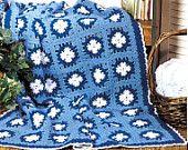 Instant Download PDF  Vintage Knitting Pattern to make Danish Blue Afghan Blanket Throw Afghan Blanket Picnic Rug Granny Squares Heirloom