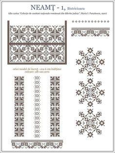 Semne Cusute: iie din MOLDOVA - Neamt, Bistricioara Russian Cross Stitch, Simple Cross Stitch, Cross Stitch Borders, Cross Stitch Designs, Cross Stitching, Cross Stitch Patterns, Folk Embroidery, Embroidery Stitches, Embroidery Patterns