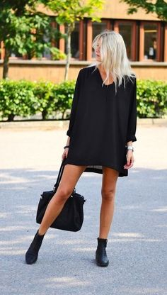 Simple dress and flat booties.