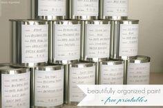organized paint + free printable's