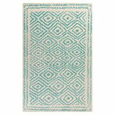 Wool rug with a traditional diamond motif. Hand-woven in India.   Product: RugConstruction Material: WoolColor: Malachite blueFeatures:  Hand-wovenMade in India  Note: Please be aware that actual colors may vary from those shown on your screen. Accent rugs may also not show the entire pattern that the corresponding area rugs have.Cleaning and Care: Vacuum regularly with non-beater attachment. Blot stains immediately. Test cleaning products in discreet area. Dry clean.