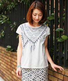 BEAUTY&YOUTH WOMENS(ビューティアンドユース ウィメンズ)のBYBC ∵スカーフ刺繍Tシャツ(Tシャツ・カットソー)|ホワイト