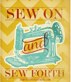 Sewing Machine Printable Poster with chevron pattern.  Decorate your creative space with this great free printable poster from Compulsive Craftiness.