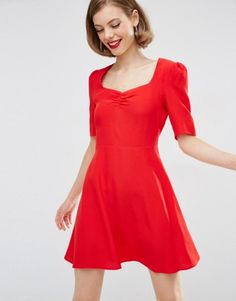 60% Off was £25.00 now £10.00 ASOS Woven 3/4 Sleeve Tea Dress With Sweetheart Neckline