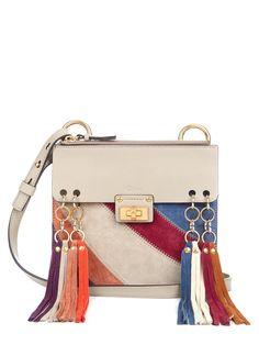 chloe jane small rainbow patchwork leather suede crossbody bag