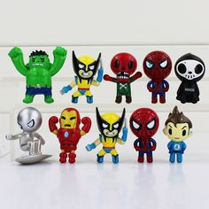 10Pcs The Avengers Spider Man Hulk Wolverine Thor Batman Marvel Collection Mini Action Figure //Price: $9.95 & FREE Shipping //     #actionfigure