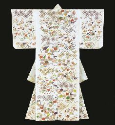 Kosode with Floral Bouquets and Latticework,   Edo period (19th century)   White figured silk satin (rinzu) with colored embroidery, couched gold and stencilled imitation tie-dying (katakanoko)