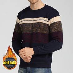 2015 New winter men's sweater fashion patchwork knitted sweater o neck fleece thick casual business pullover Blusa Masculina CH623