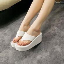 Été Latform coins sandales femmes mode haute talons tongs brève plage de couleur Pure chaussures blanc noir Flip Flops de femme(China (Mainland))