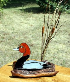 Stained Glass Redhead Duck Sculpture. $49.00, via Etsy.