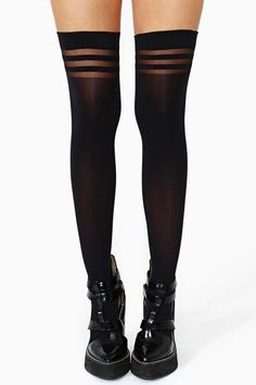 Alice + Olivia Opaque Thigh Highs