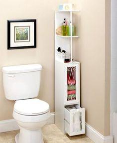 Space Saving Slim Metal Scrolled Wooden Storage Cabinet Black or White Cupboard . ] Space Saving S Small Bathroom Storage, Bathroom Organization, Organization Ideas, Bathroom Ideas, Compact Bathroom, Bathroom Bin, Bathroom Grey, Mirror Bathroom, Bathroom Modern