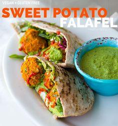 Sweet Potato Falafel + Pumpkin Seed Chimichurri Sauce #vegan #recipe #dinner #glutenfree