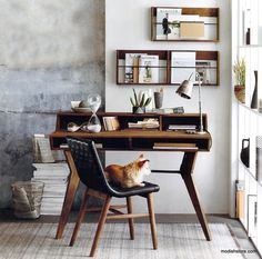 $1,378.00 Roost Roubaix Teak Desk & Wall Racks The Roost Roubaix Teak Desk & Wall Racks desk with modern lines for a well-appointed office creates a minimalist work-space in a living room or bedroom. Made from solid reclaimed teak, the desk has open storage cubbies, finger joint construction and iron brackets and leg brace. A top hutch, sold separately, provides extra storage.