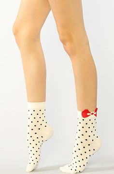 Accessories Boutique Socks Dotted Bow Socks in White - Karmaloop : Karmaloop.com - Global Concrete Culture