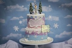 disney frozen cake | One of my favorites this year! Tri color buttercream cake with fondant ...
